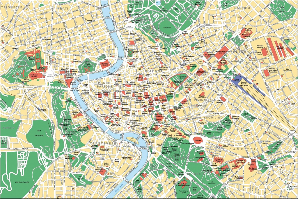 Map Of Rome Tourist Attractions, Sightseeing & Tourist Tour - Rome Tourist Map Printable