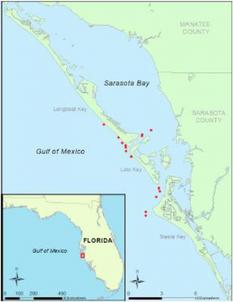 Map Of Sampling Area Off Sarasota, Fl Showing Locations Of A - Sarasota Florida Map Of Florida