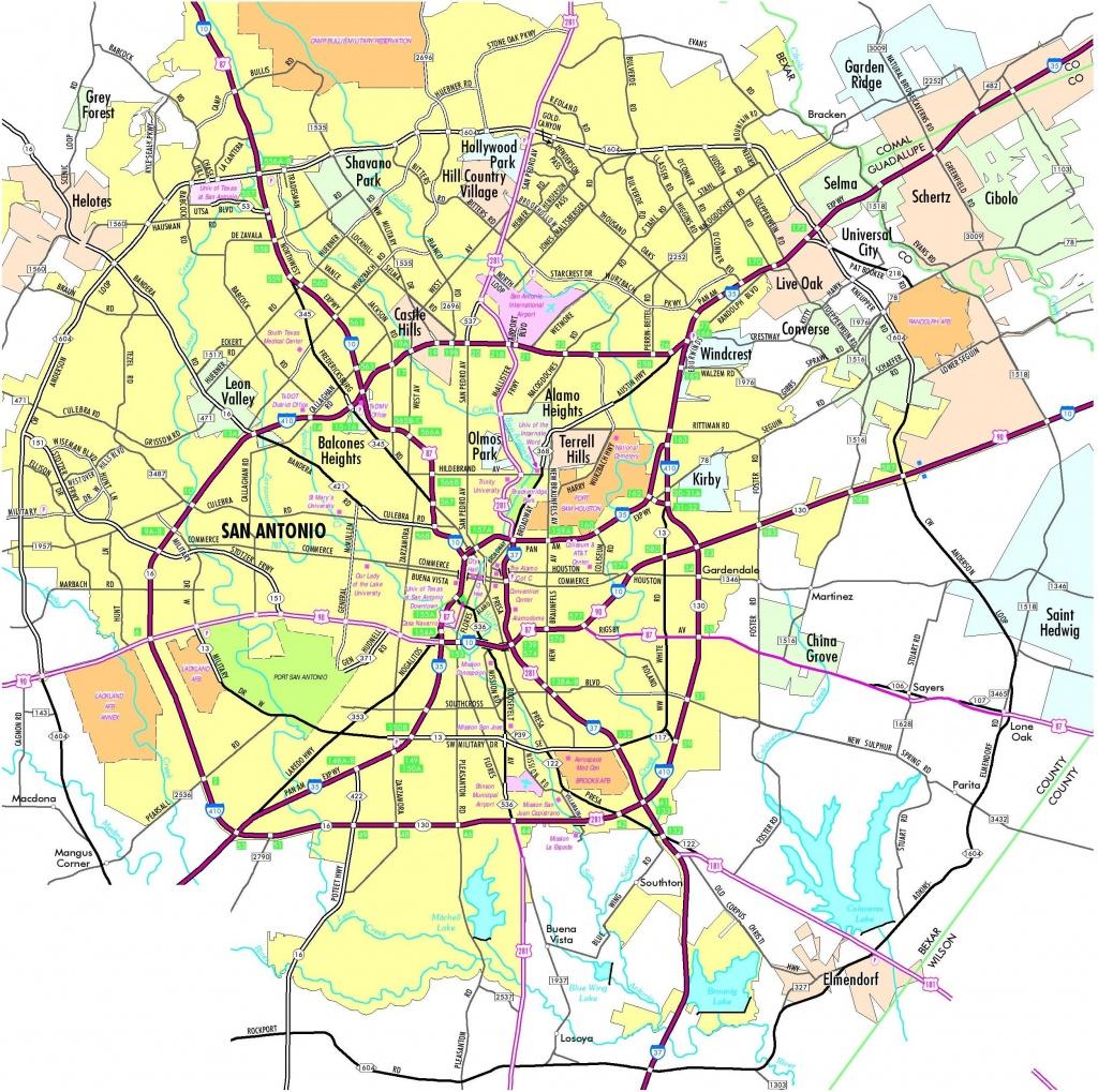 Map Of San Antonio Texas And Surrounding Area - San Antonio Tx Map - San Antonio Texas Maps