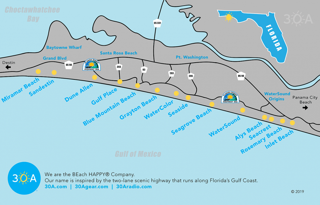 Map Of Scenic 30A And South Walton, Florida - 30A - Map Of Seaside Florida Area