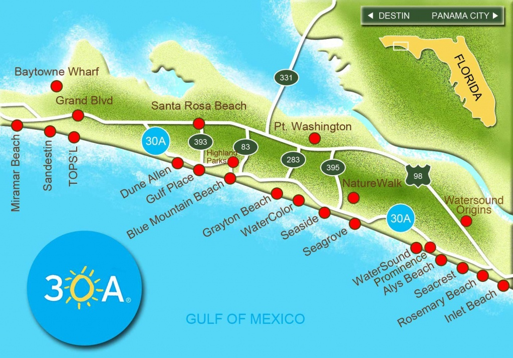 Map Of Scenic 30A And South Walton, Florida - 30A Panhandle Coast - Map Of Florida Panhandle Hotels