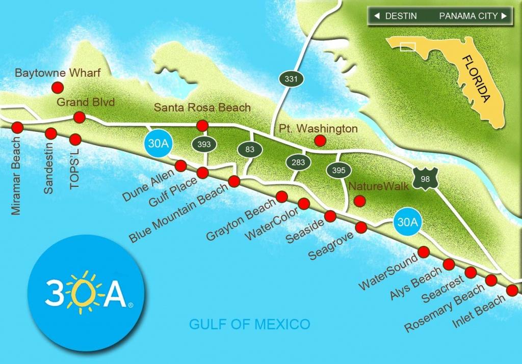 Map Of Scenic Highway 30A/south Walton, Fl Beaches   Florida: The - Florida Map Destin Fl