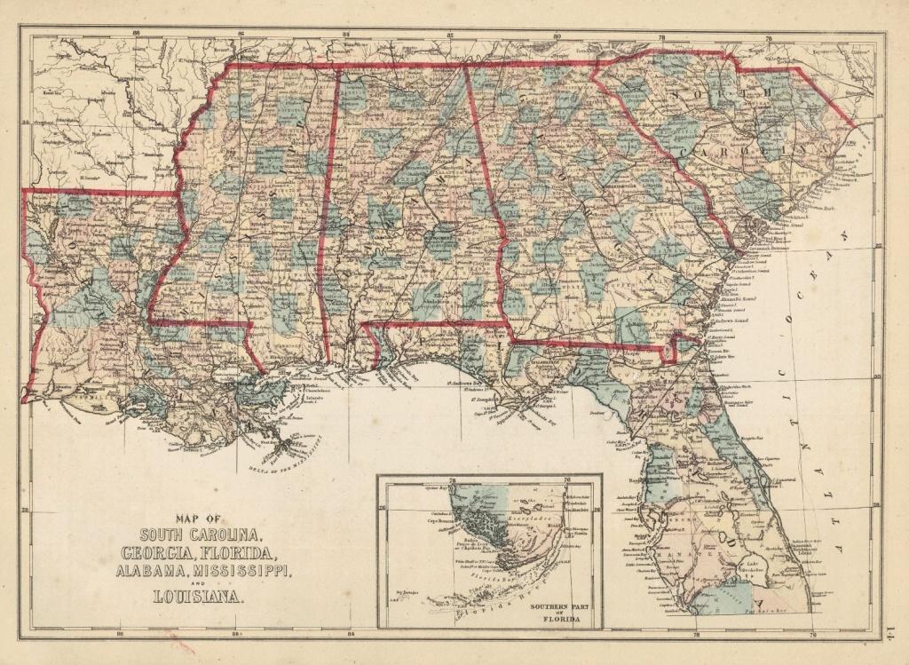 Map Of South Carolina, Georgia, Florida, Alabama, Mississippi, And - Florida Louisiana Map