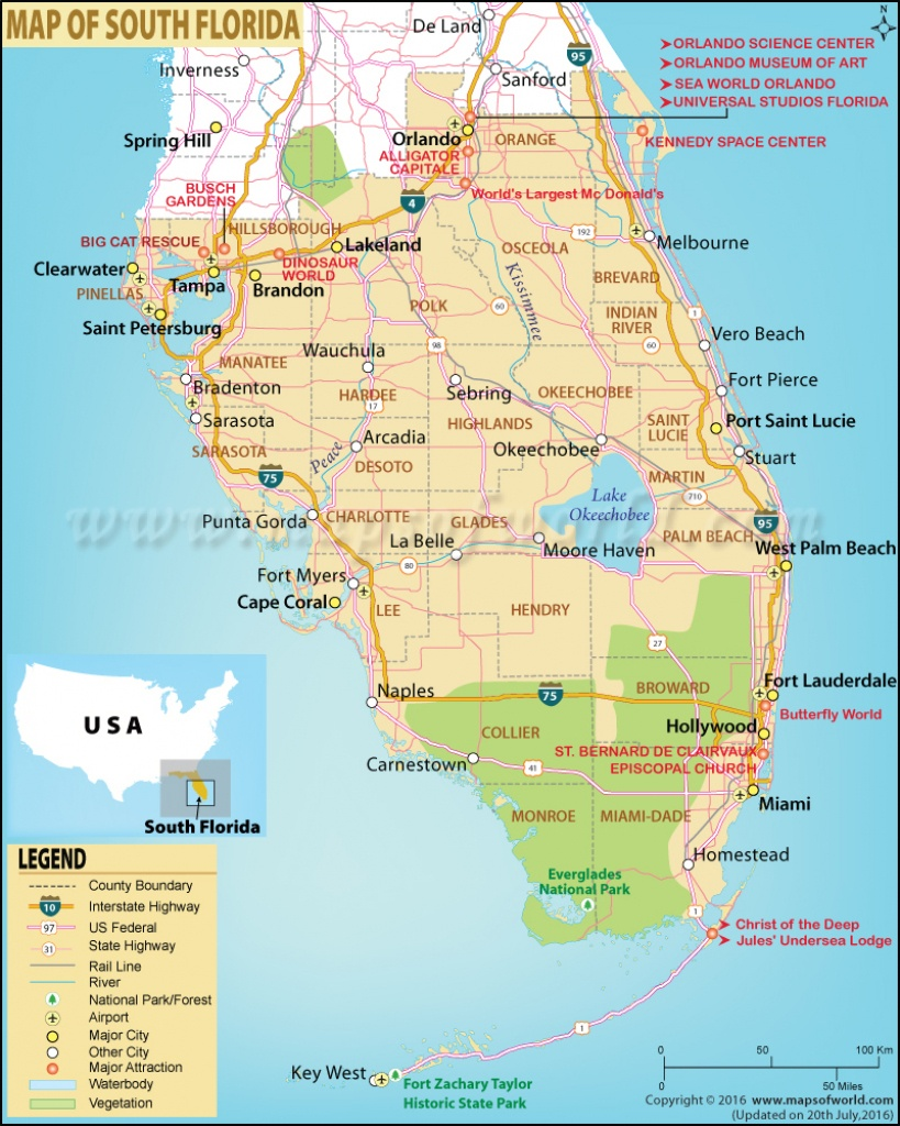 Map Of South Florida, South Florida Map - Gulf Coast Cities In Florida Map