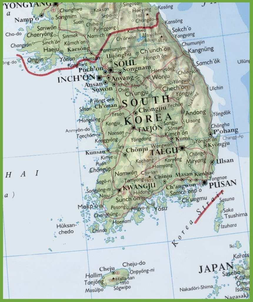 Map Of South Korea With Cities And Towns - Printable Map Of Korea