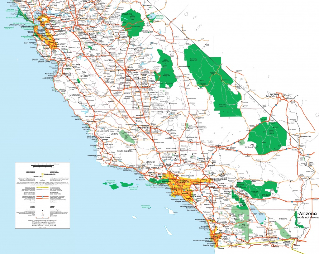 Map Of Southern California - Printable Road Map Of Southern California