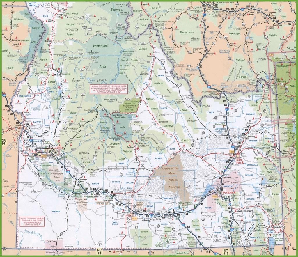 Map Of Southern Idaho - Printable Map Of Idaho