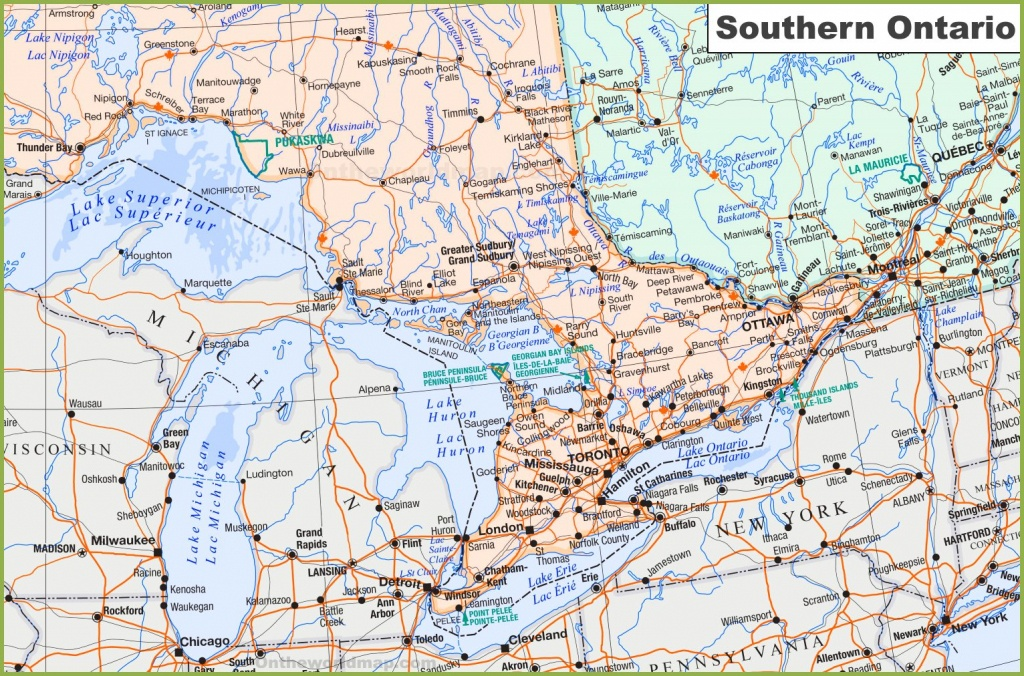 Map Of Southern Ontario - Printable Map Of Ontario