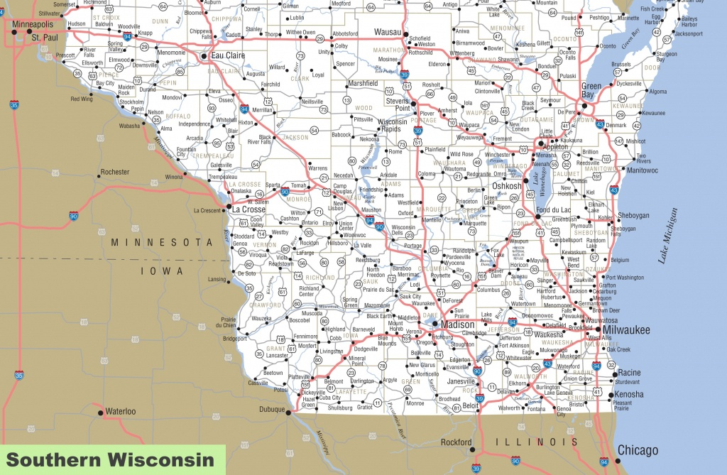 Map Of Southern Wisconsin - Printable Map Of Wisconsin