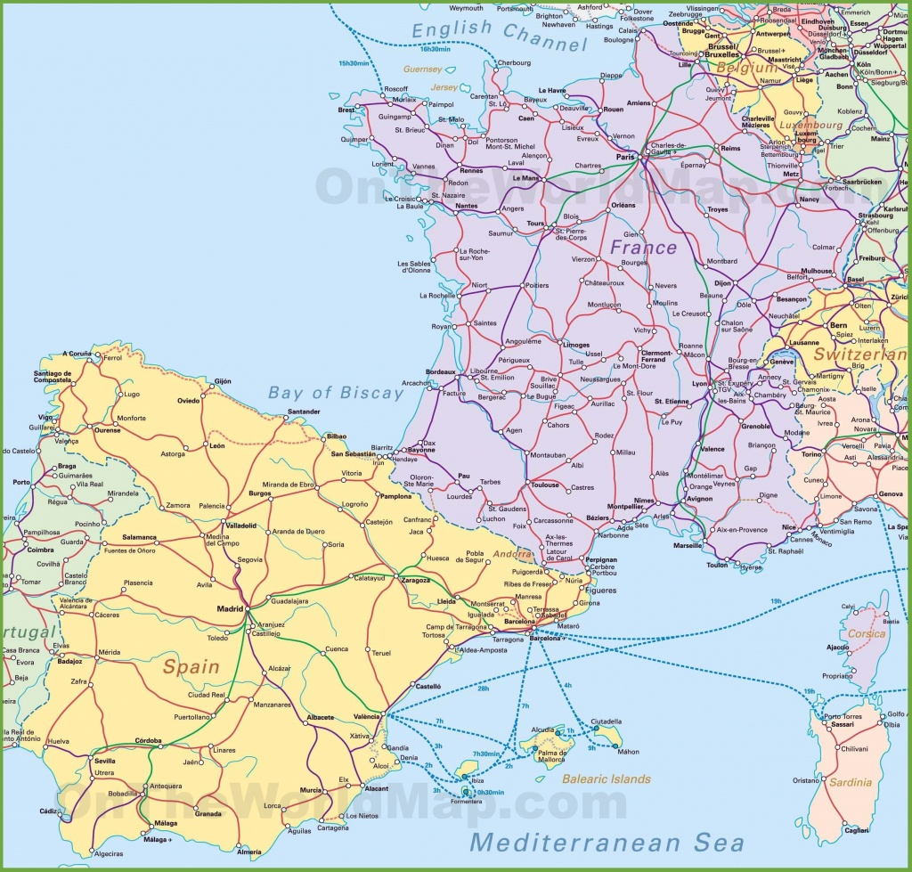 Map Of Spain And France - Printable Map Of France With Cities And Towns