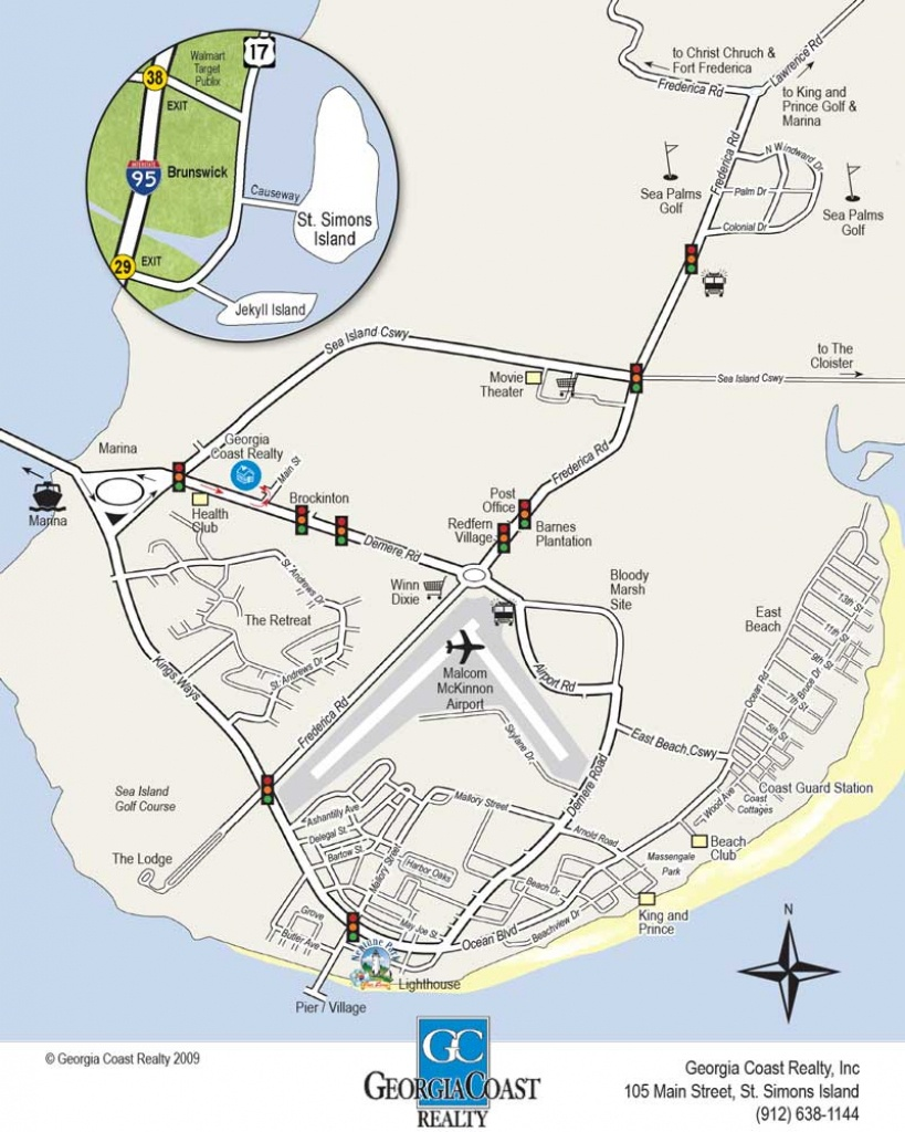 Map Of St. Simons Island Georgia | Georgia Coast Realty - Printable Map Of St Simons Island Ga