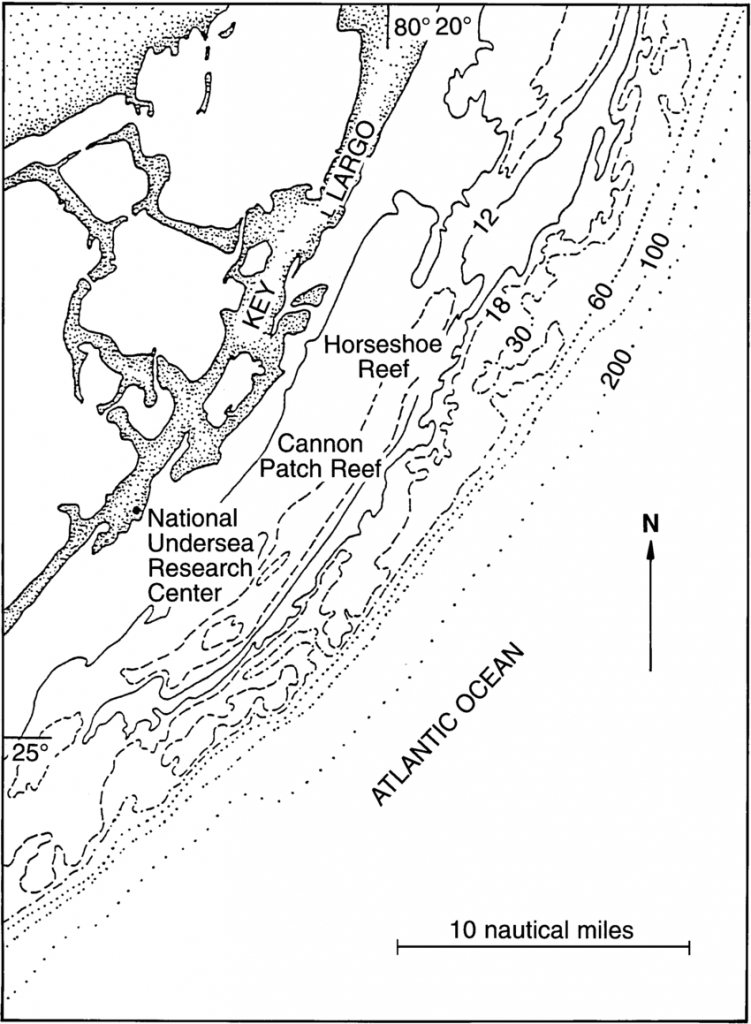 Map Of Study Area Of Modern Reefs Of The Florida Reef Tract - Florida Reef Map
