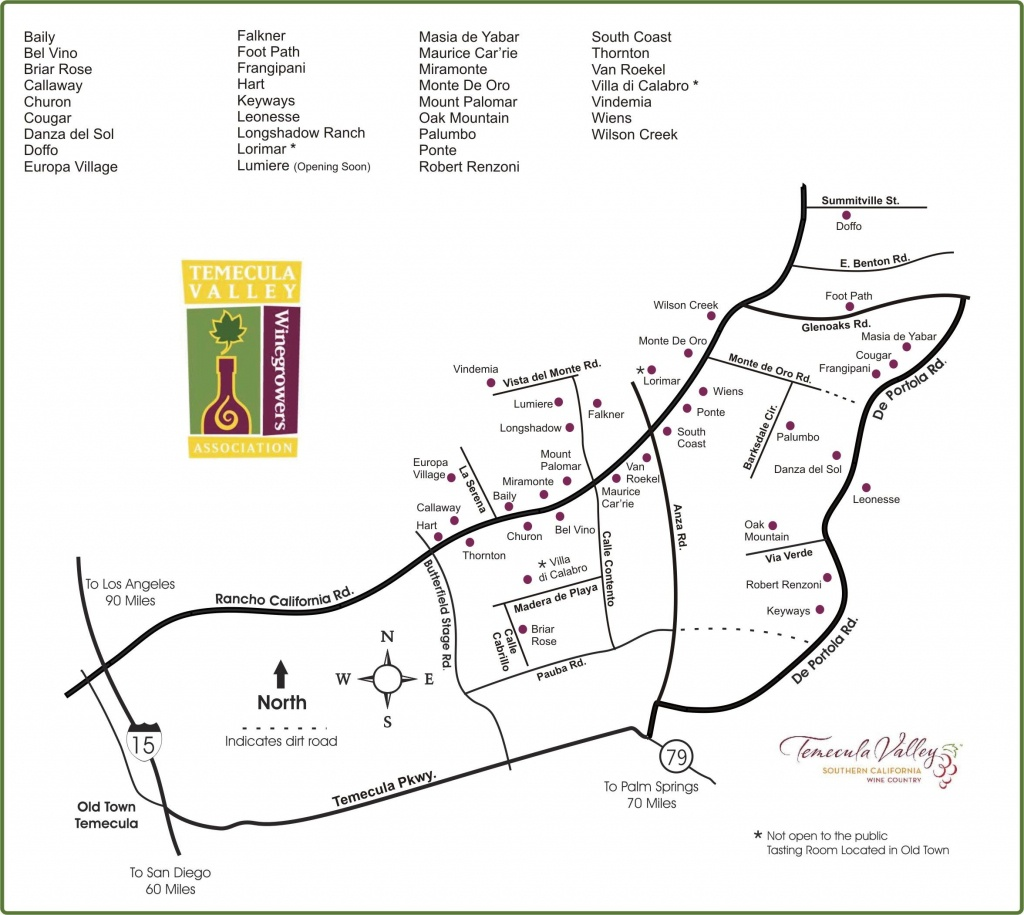 Map Of Temecula Wine Country In Southern California | Wine Country - Temecula Winery Map Printable