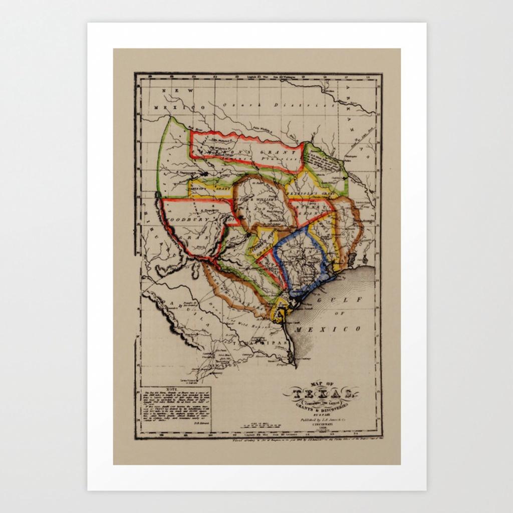 Map Of Texas 1836 Art Printlydiadavid | Society6 - Map Of Texas Art