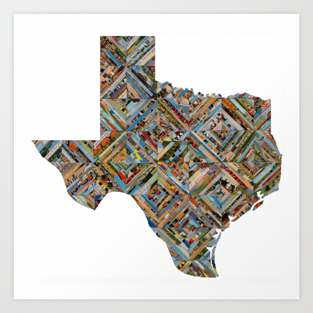 Map Of Texas Art Printtofu | Society6 - Map Of Texas Art