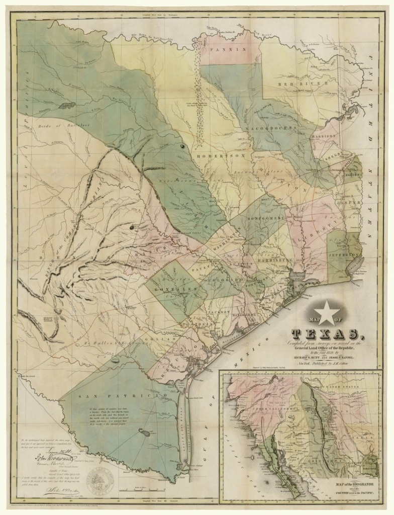 Map Of Texas, Compiled From Surveys On Record In The General Land - Texas Land Office Maps