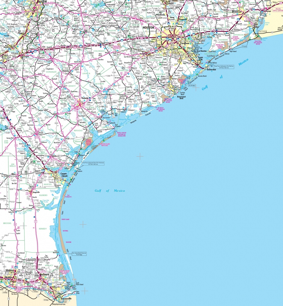 Map Of Texas East Coast | Woestenhoeve - Texas Coastal Fishing Maps
