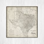 Map Of Texas, Texas Canvas Map, Texas State Map, Antique Texas Map – Texas Map Canvas