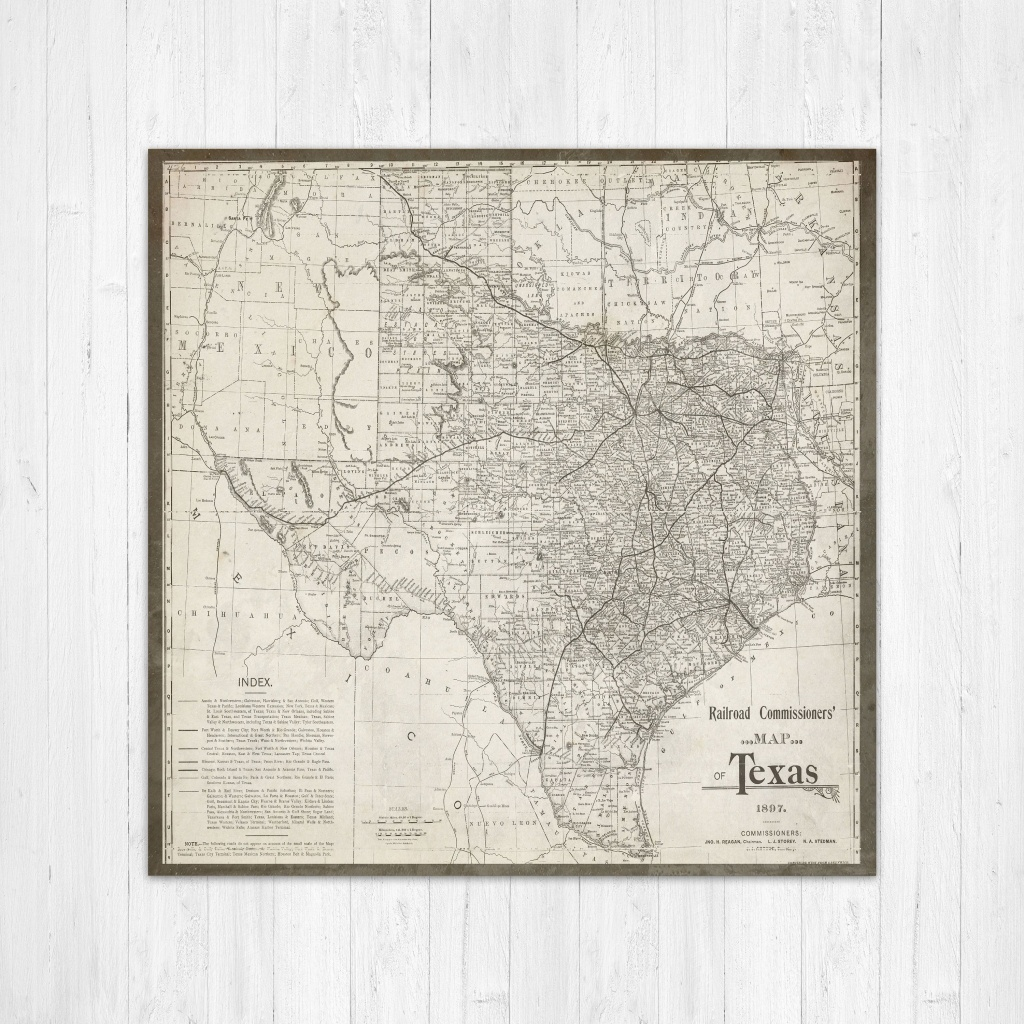 Map Of Texas, Texas Canvas Map, Texas State Map, Antique Texas Map - Texas Map Canvas