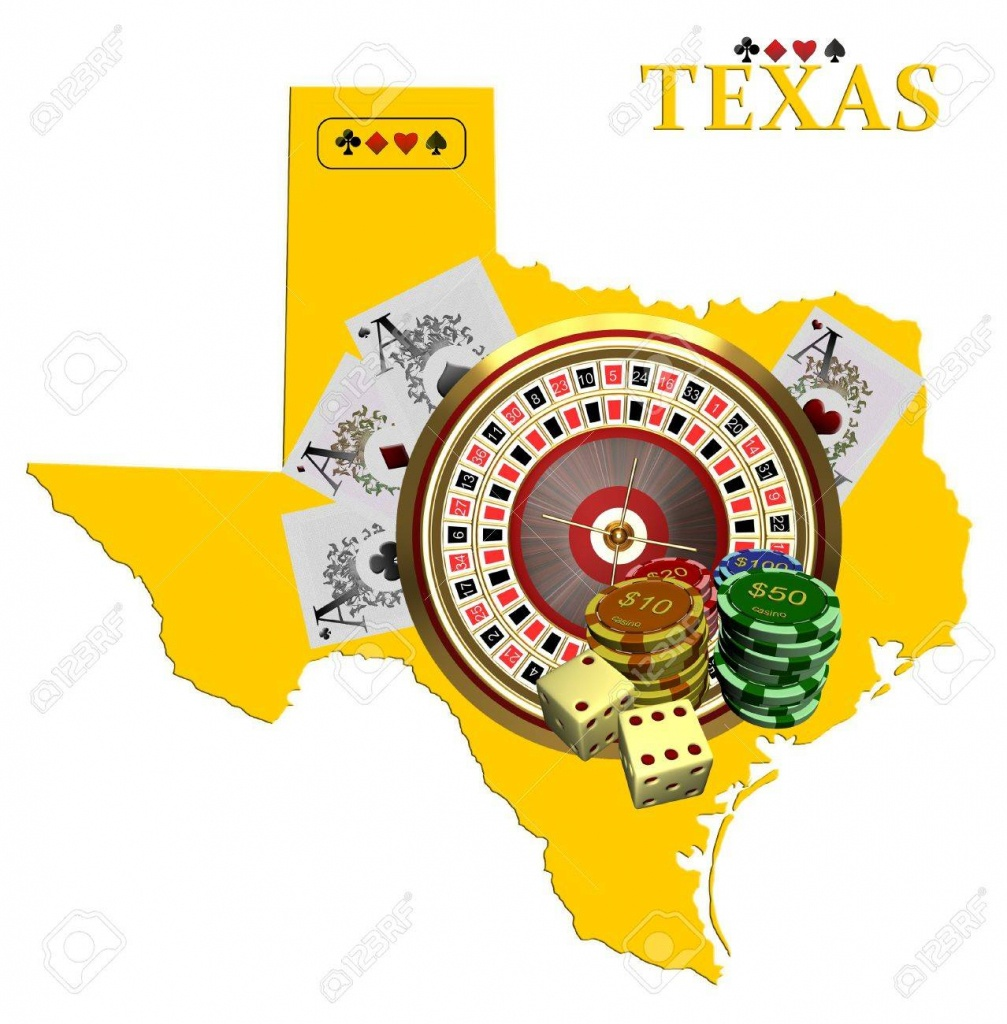 Map Of Texas With Casino Chips Stock Photo, Picture And Royalty Free - Casinos In Texas Map