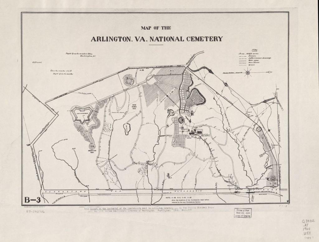 Map Of The Arlington, Va. National Cemetery | Library Of Congress - Printable Map Of Arlington National Cemetery