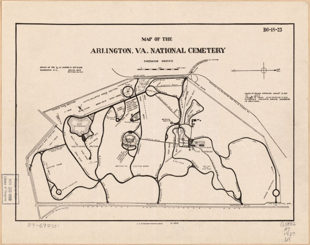 Map Of The Arlington, Va. National Cemetery Showing Drives | Library - Printable Map Of Arlington National Cemetery