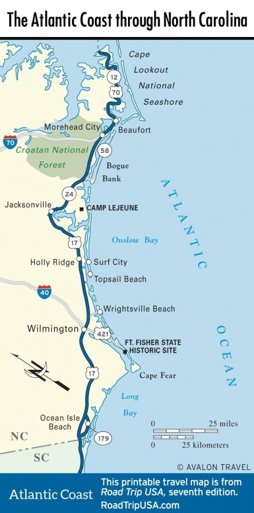 Map Of The Atlantic Coast Through North Carolina.   Maps - U.s. - Florida Atlantic Coast Map