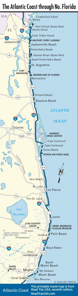 Map Of The Atlantic Coast Through Northern Florida. | Florida A1A - Best Beaches Gulf Coast Florida Map