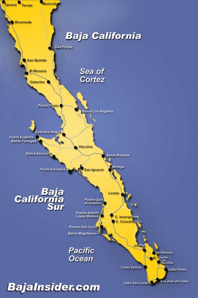 Map Of The Baja California Peninsula Of Mexico | Bajainsider - Detailed Baja California Map