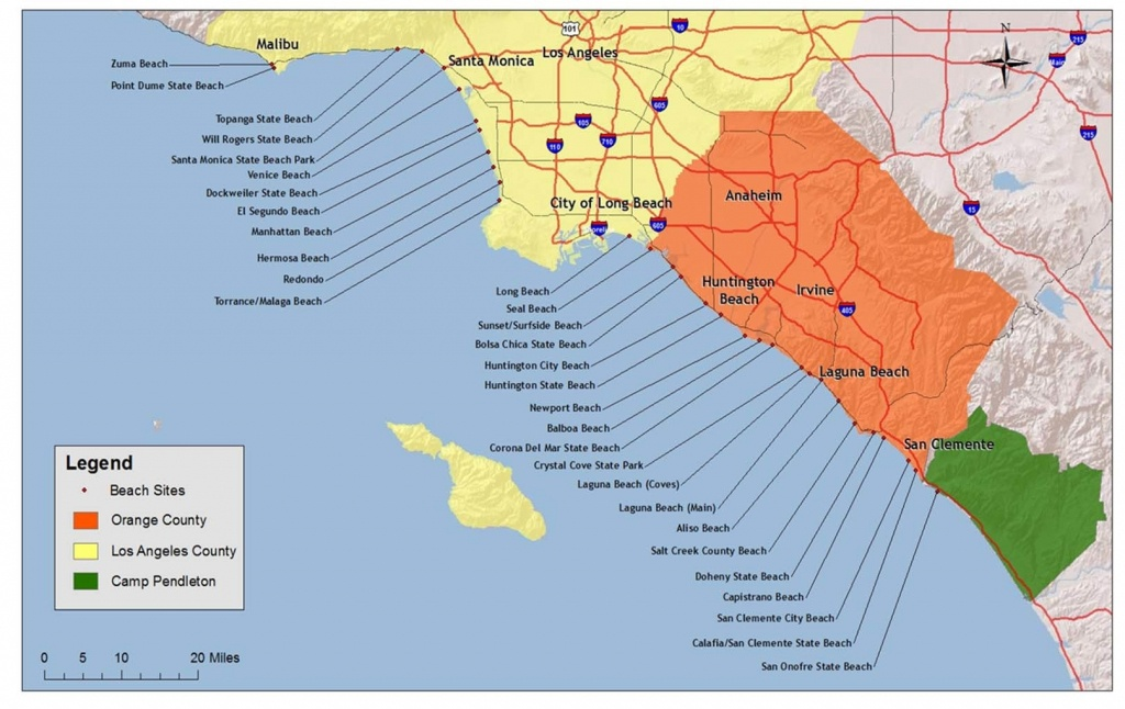 Map Of The Beaches In Southern California – Map Of Usa District - Map Of Southern California Coast