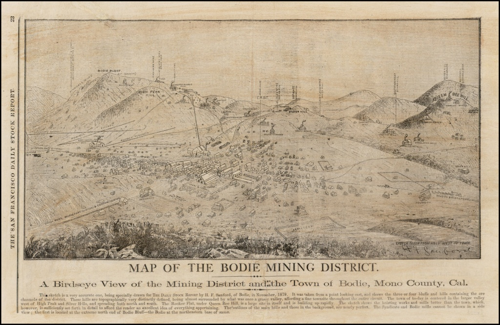 Map Of The Bodie Mining District -- A Birdseye View Of The Mining - Bodie California Map