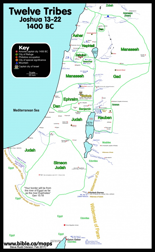 Map Of The Borders Of The Twelve Tribes Of Israel Joshua Divides The - Printable Bible Maps For Kids