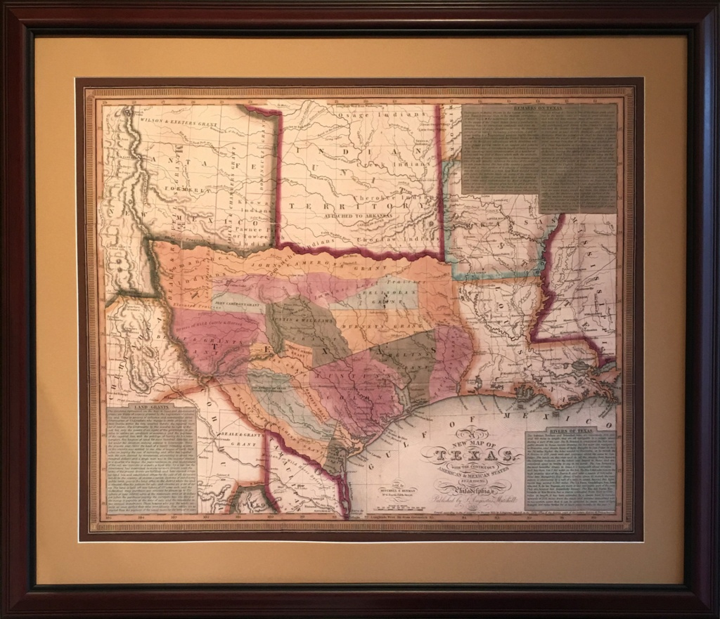 Map Of The Early Texas Land Grants - Framed Texas Map