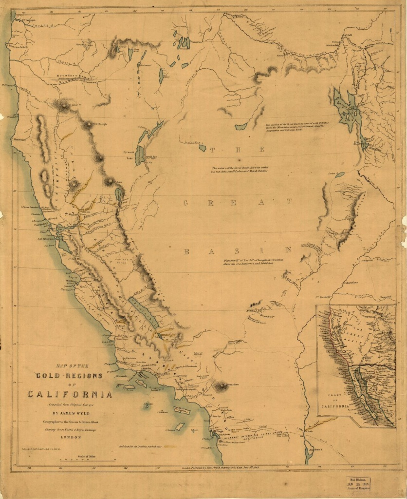 Map Of The Gold Regions Of California. | Library Of Congress - Gold Prospecting Maps California