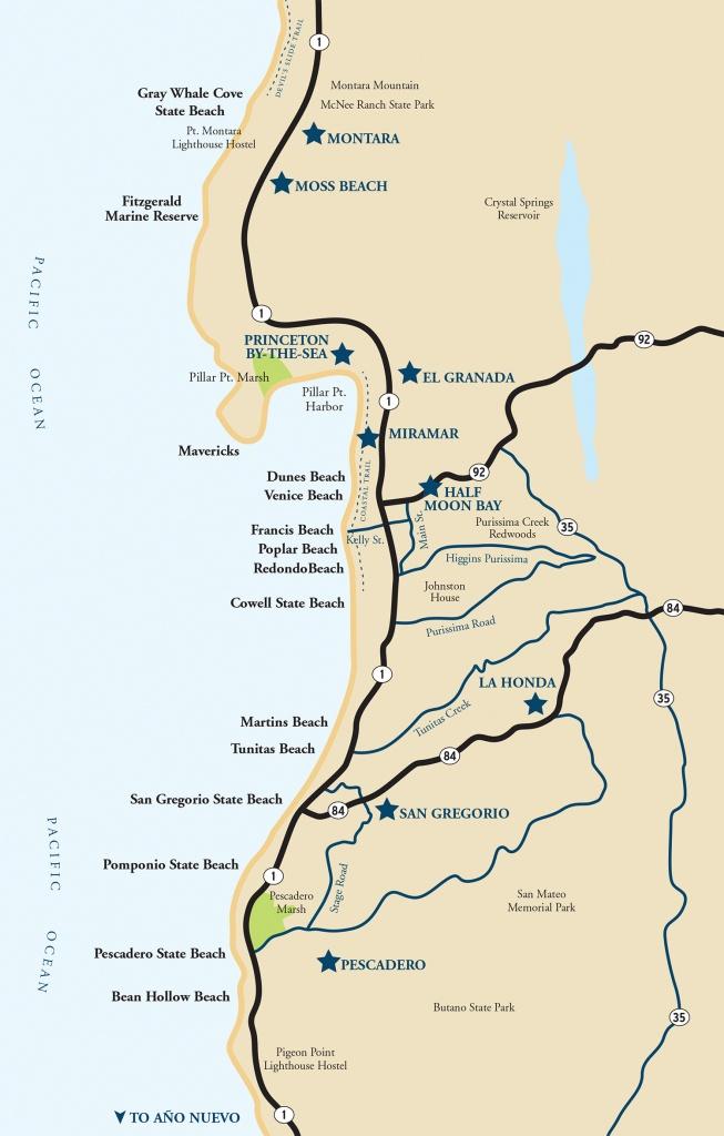 Map Of The Half Moon Bay Coastside | Visit Half Moon Bay - Map Of California Coast Beaches