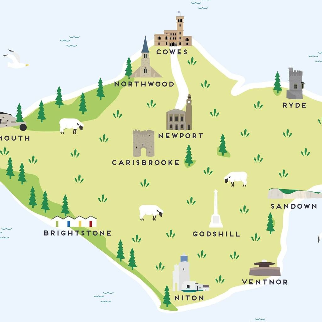 Map Of The Isle Of Wight Printpepper Pot Studios - Printable Map Of Isle Of Wight