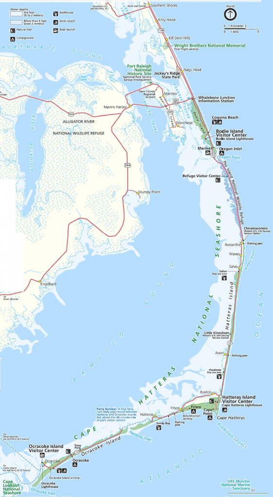 Map Of The Outer Banks Including Hatteras And Ocracoke Islands - Printable Map Of Outer Banks Nc