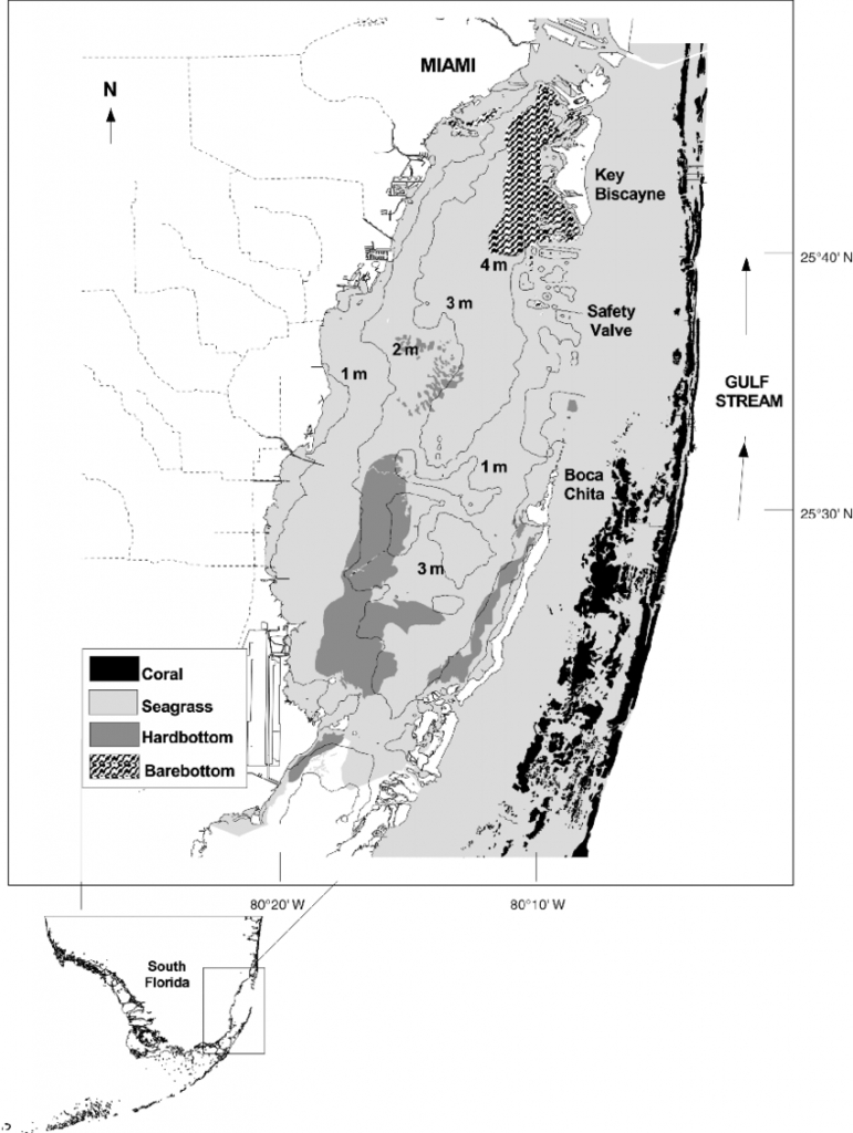 Map Of The South Florida Region With Inset Showing The Biscayne Bay - Coral Bay Florida Map
