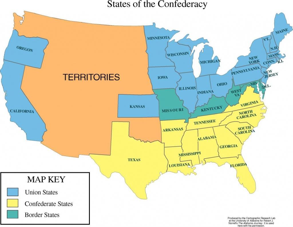 Map Of The Us In Civil War | Robert E Lee | United States Map, Us - Printable Civil War Map