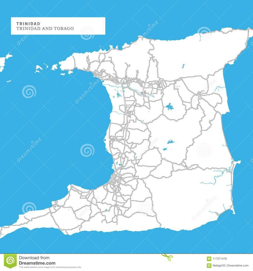 Map Of Trinidad Island Stock Vector. Illustration Of Printable - Printable Map Of Trinidad And Tobago