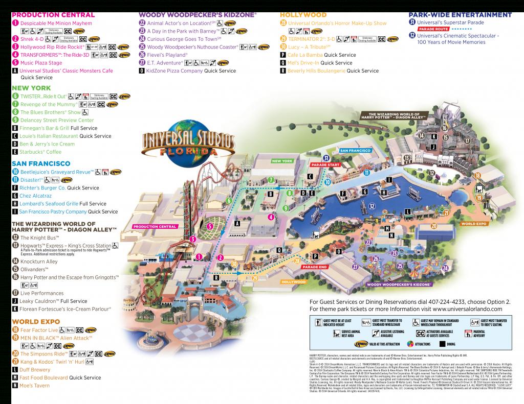 Map Of Universal Studios, Orlando Florida 2015 - 1✓ , 2✓ , 3 - Universal Studios Florida Hotel Map