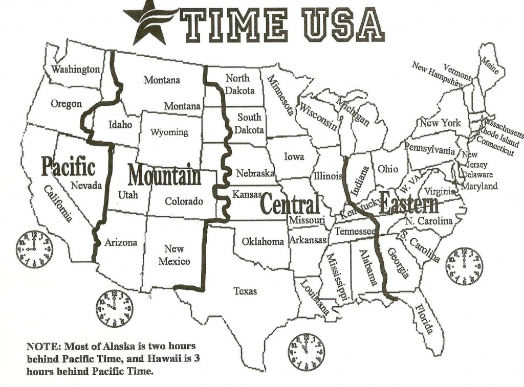 Map Of Us With Time Zones   Sitedesignco - Printable Time Zone Map With States