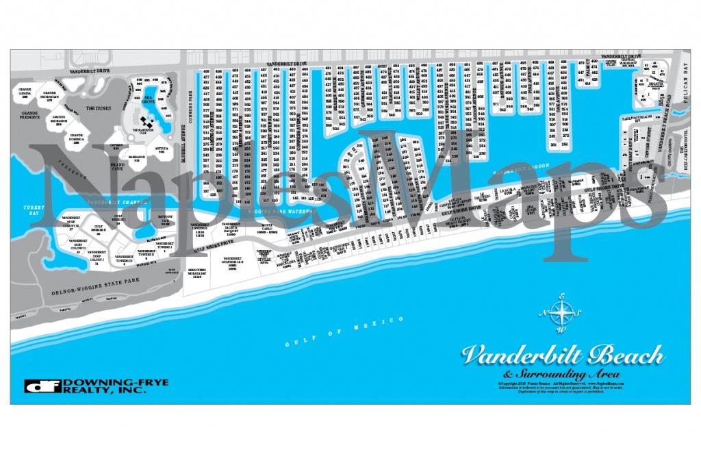 Map Of Vanderbilt Beach Area (Customized Sample) Naples Florida - Vanderbilt Beach Florida Map