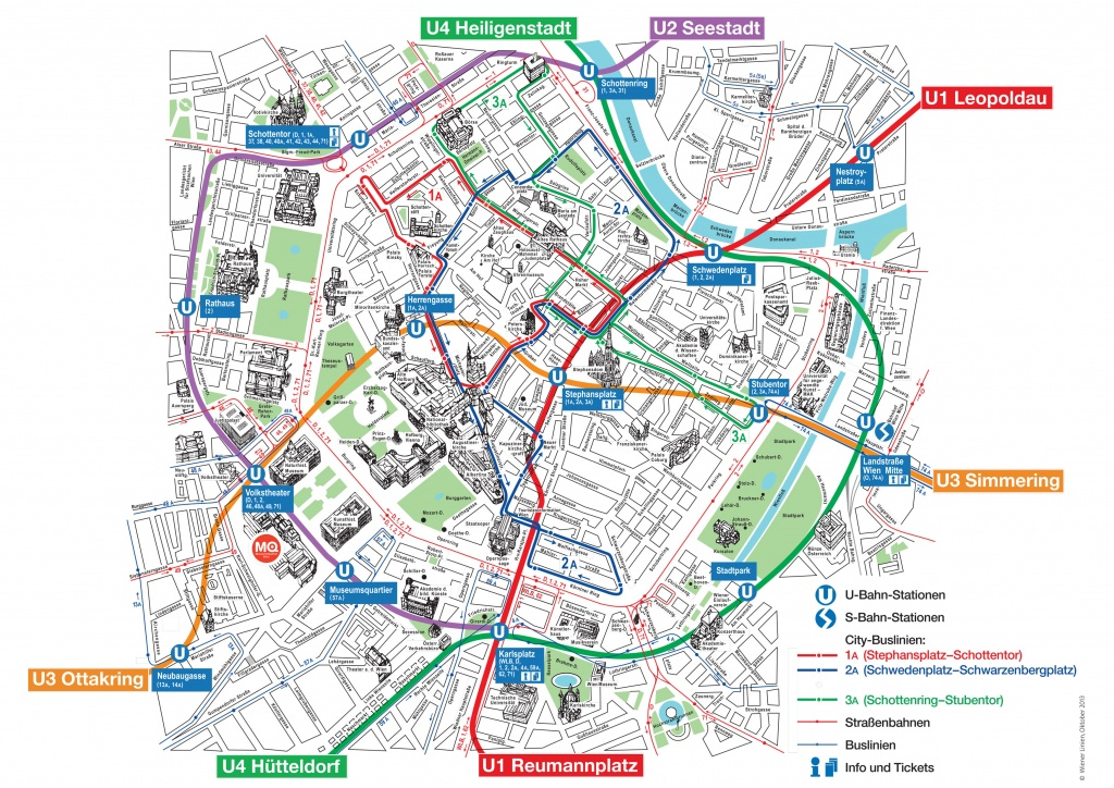 Map Of Vienna Tourist Attractions, Sightseeing & Tourist Tour - Printable Map Of Vienna