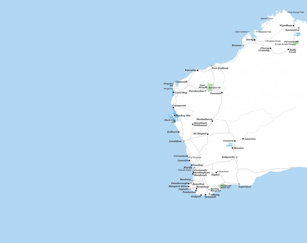 Map Of Western Australia - Tourism Western Australia - Printable Map Of Western Australia