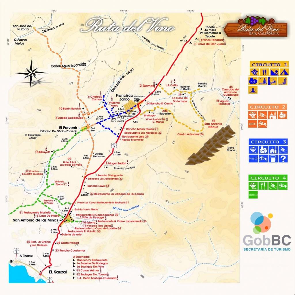Map Of Wine Route (Mapa Ruta Del Vino) North Of Ensenada In - Guadalupe California Map