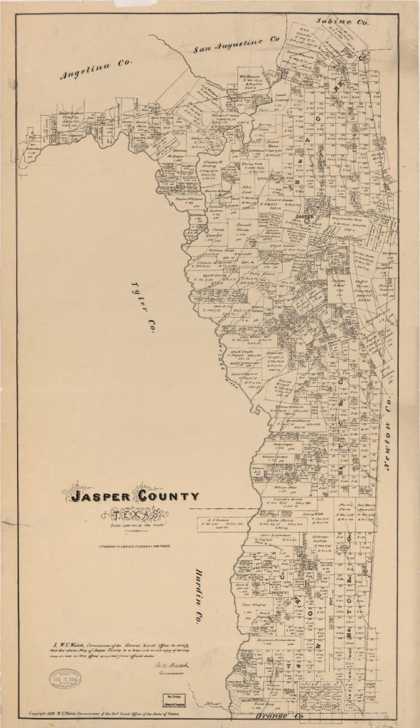 Map, Real Property, Texas, Jasper County   Library Of Congress - Jasper County Texas Parcel Map