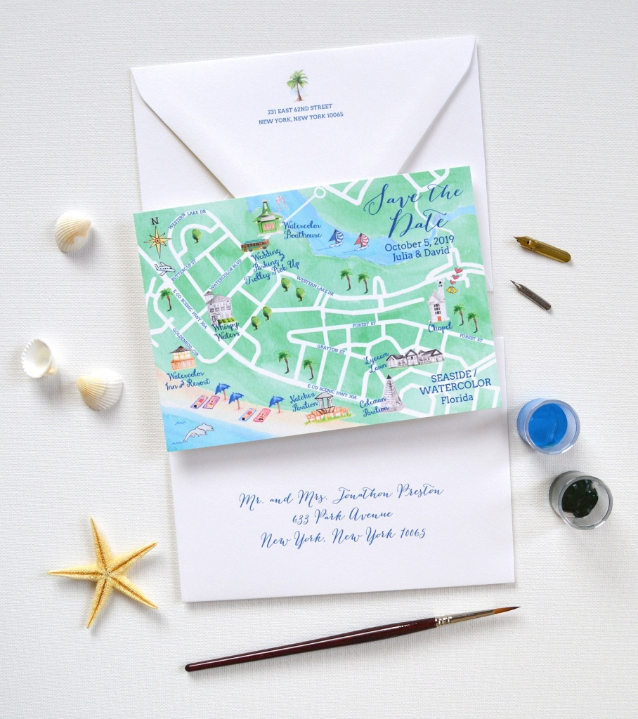 Map Save The Date, Watercolor Seaside Save The Date | Mospens Studio - Map Of Watercolor And Seaside Florida