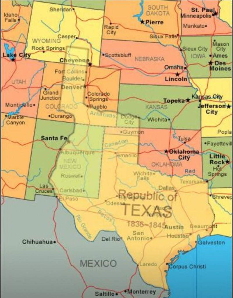 Map Showing Current Usa With The Republic Of Texas Superimposed - Roma Texas Map