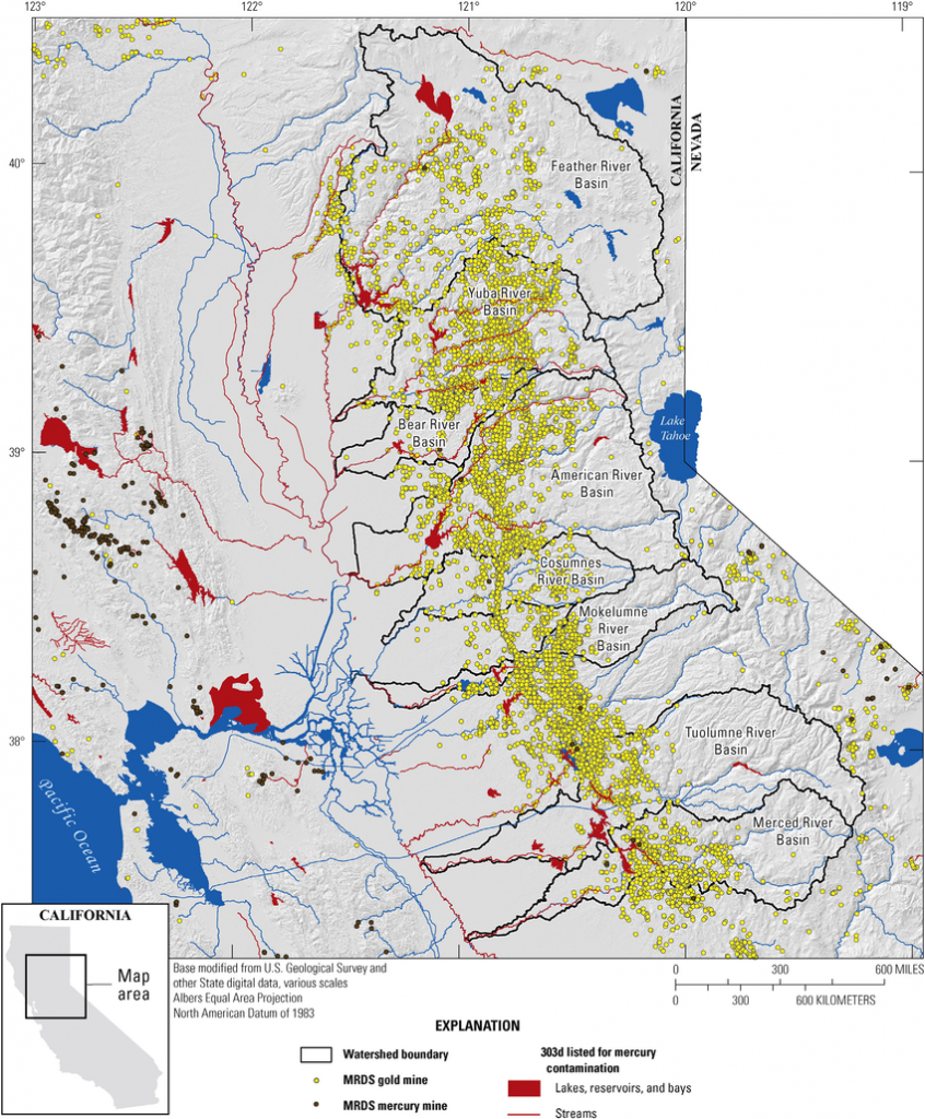 Map Showing Locations Of Historical Gold Mines In The Sierra Nevada - California Gold Mines Map